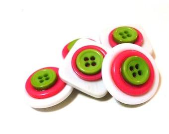 Button Magnets - White, Pink Magenta Fushia, Lime Green for Refrigerator, Locker, Memo Board, Filing Cabinet - Bold