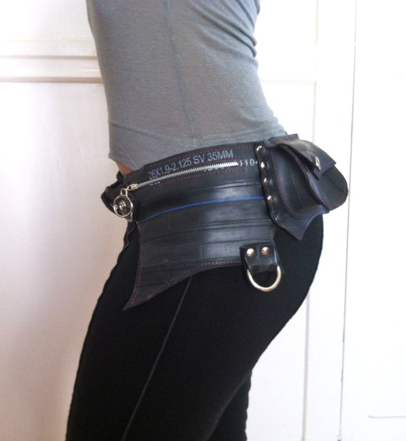 BAT Vegan Upcycled Recycled Bicycle Tire Inner Tube Festival Pocket Belt Utility Burning Man Eco-Friendly Hands-Free Cycling CUSTOM