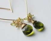 Personalized Bridesmaids Gifts, Custom Wedding Earrings, Gifts For Your Bridesmaids, Sexy Gold Leaf Earrings with Swarovski Crystals and Green Drops