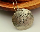 Dream Big Quote Necklace, Personalized  Quote Necklace Custom Graduation Gift, Initial Charm Necklace, Mothers Day Charm Necklace,