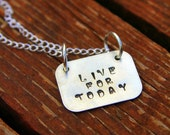 Inspirational Sterling Jewelry Live For Today, Customized Name Necklace, Custom Word Jewelry Rectangle, Graduation Gift Future.