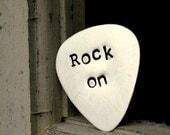Daddy Rocks Guitar Pick Handstamped, Man Valentines Day Graduation Gift For Dad Boyfriend,  Boyfriend Gifts Under 25, Rock On