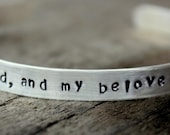 Custom I am My Beloved Quote Love Valentines's Personalized Gift Anniversary I Love You Gift Cuff Bangle, Silver Cuff