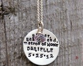 Maid Of Honor Gift - Bridesmaid Gift - Rehearsal Dinner Gift- Sister - Matron Of Honour Necklace - Gift For Bridal Party , Wedding