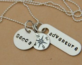 Compass NEcklace- Adventure Necklace - Initial Silver Necklace New Adventure - Personalized Monogram Necklace- Graduation- New Adventures