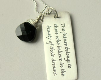 Graduate Black Necklace Sterling PEndant,  Dream High Believe, College Grad Gift 2014, Unique Grad Gift Ideas, Inspirational Gift , New Job