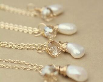 Bridal Party Jewelry, Pearl Necklaces Bridal Party, Set of FOUR Gold Pearl Necklaces, Pearl Wedding Jewelry - BRIDAL Swarovski