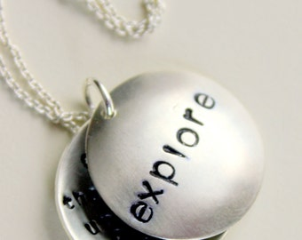 Explore Hand Stamped Custom Word Locket Necklace - Graduation Inspirational Name Pendant, Follow Your Dreams Quote