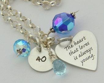 30th 40th 50th Birthday Sterling Bracelet - Milestone Birthday Gift- Personalized Love Charm -The Heart That Loves Is Always Young Quote,