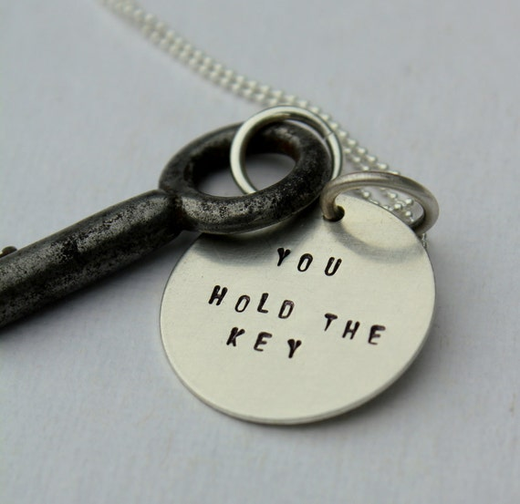 Inspirational You Hold the Key Quote Necklace - Valentines Day Graduation Anniversary, Skeleton Key Necklace, Quote