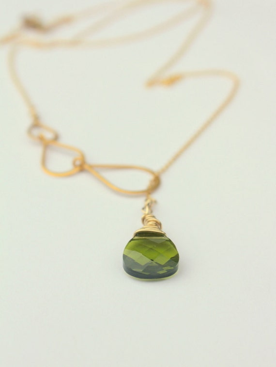 Lariat Necklace, Green and Gold Leaf Necklace, Gold Lariat Personalized Necklaces,  Bridesmaids Gifts, Green Necklace, Y Necklace, Christmas