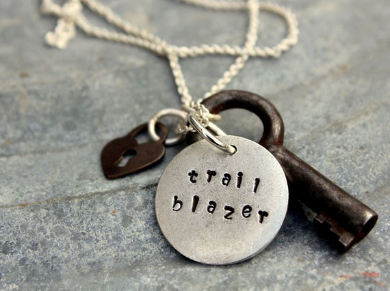 Inspiring Adventure Necklace, Silver Trail Blazer Pendant Nature Earth Day, Personalized Key Necklace, Outdoors Gift, Sports Charms