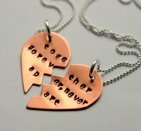 Friendship Quotes Jewelry: Items Similar To BFF Necklace, Best Friend Necklaces Heart