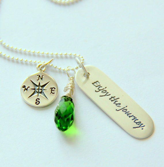 Inspirational Graduation Necklace, Emerald Peridot Necklace Green Silver Graduation Quotes, 2015, Bonne Voyage Journey, Mothers Day Jewelry