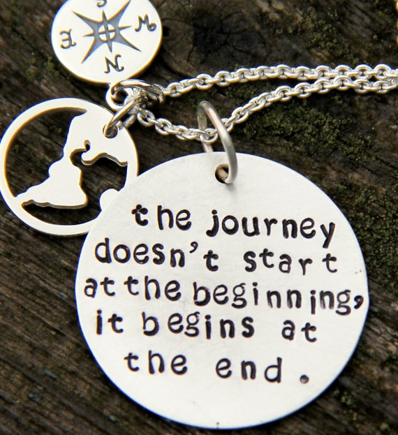 World Necklace, Inspiration Graduation Gift, Journey begins Quote, Compass Necklace, Gift  Her 2012, Inspirational,  World, Earth