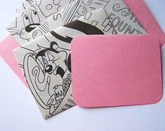 SALE - Coloring Pages Stationery - Set of 4 - Pretty Pink - SALE