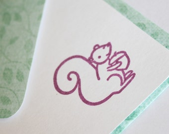 SALE Set of 2 Stationery - Eggplant Purple - Nutty Squirrel