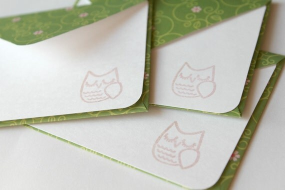 Set of 3 Stationery - Grass Green with Little Pink Flowers - Sweet Owl
