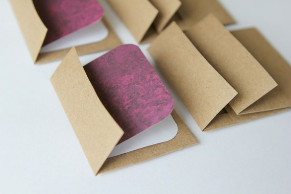 Mini Cards n Envelopes - Set of 6 - Recycled Kraft - Eggplant Designs