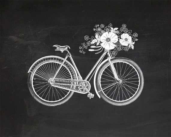 Vintage Bicycle with Flowers on Chalkboard Print 8x10 P152