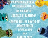 Sesame Street Custom Photo/No Photo Birthday Invitations