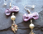 HANDMADE IN ENGLAND, Holly Daise, Flirty,  Bow Pearl and Clover Earrings, Perfect Gift