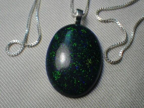 "Big 25x18mm Black Australian Fairy Opal Pendant Sterling Silver 18"" Necklace"