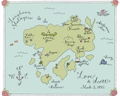 custom illustrated WEDDING MAP with calligraphy