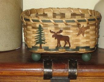 Napkin Basket-Moose-Bread Basket-Handwoven Basket-Square Basket