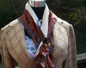 Brown and Blue Chain Accent Scarf
