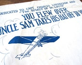 "Sheet music with Charles Lindbergh airplane,""You Flew Over, Uncle Sam Takes His Hat Off to You"""