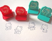 Hello Kitty rubber stamp set in red plastic suitcase, 1991, Sanrio toy, craft tools