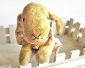 Stuffed animal, bunny rabbit, yellow mohair with pink ribbon and bell, vintage Easter Bunny