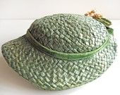 Vintage green ladies woven straw hat with faded flowers and velvet ribbon, easter bonnet, 1950s shabby spring garden party hat