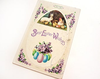 """Antique Easter postcard, """"Best Easter Wishes"""" with bunny rabbit, hen, chicks, eggs and violets, 1911, International Art Publishers Co."""