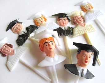 Graduation cake picks, 8 cupcake picks with graduates, vintage plastic cake toppers, black and white cupcake toppers, cap and gown