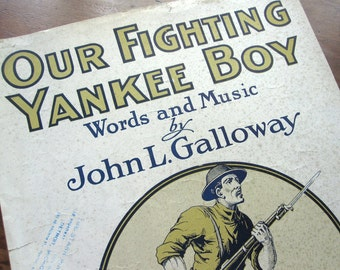 """Sheet music, """"Our Fighting Yankee Boy,"""" WWI patriotic march, vintage 1919, khaki and navy blue doughboy soldier, military song"""
