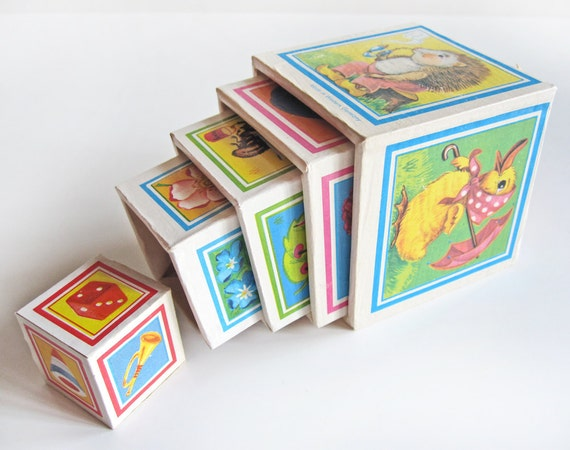 Children's toy nesting blocks, lithographed paper on wood, made in Western Germany, set of five stacking blocks