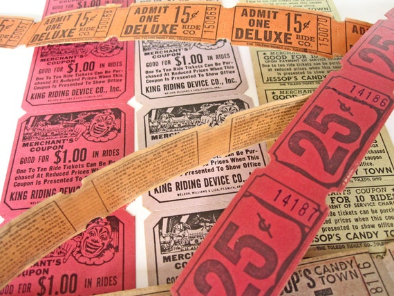 RESERVED FOR LABRADORSONLY.  Tickets for carnival midway rides, vintage 1950s, multicolored Valentines, party or wedding invitatio