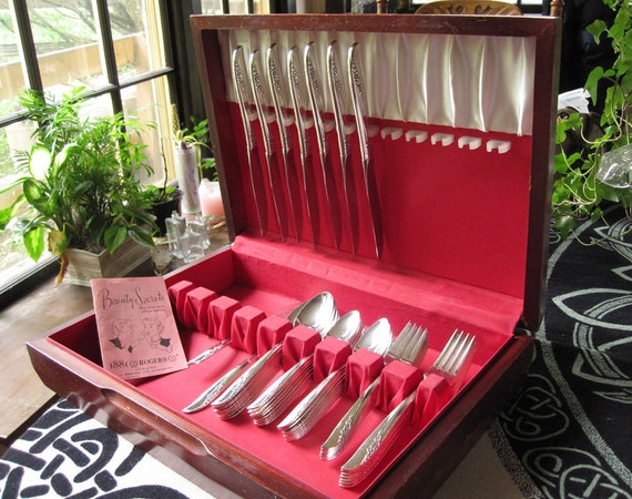 Silverplate flatware, 1881 Rogers Oneida Lilac Time pattern, 48 piece set in wood chest, vintage c. 1957, silverware, wedding gift