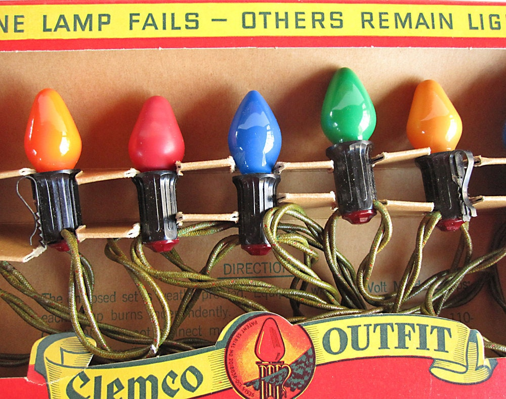 Vintage Christmas Lights Clemco Old Fashioned Bulb By
