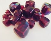 Red Beads Vintage Lucite Faceted Squares