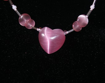 Pink Cats Eye Necklace with Heart Pendant