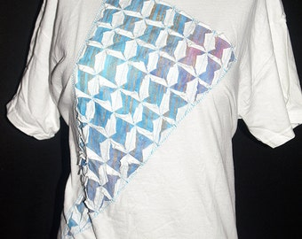 White and Turquoise Ripped T Shirt