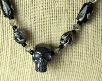 Hematite Skull Pendant Necklace