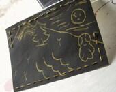 "CARD BLOCK PRINT Hand Stitched Blank ""Alien Monster Boy Says Mele Kalikimaka"""