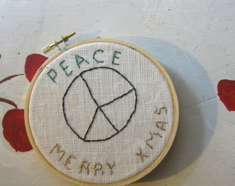"""CHRISTMAS ORNAMENT EMBROIDERED Wall Hanging Peace Upcycled """"1966"""""""
