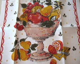 Fruit compote. Vtg kitchen towel, never used.