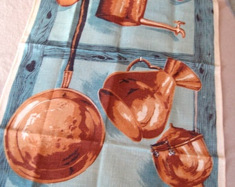 Chester copperpot. Vtg Ulster linen kitchen towel, excellent condition.