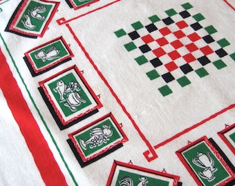 "Startex checkerboard. Vtg 28"" square tablecloth table topper kitchen towel."